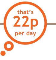 that's 22p per day!